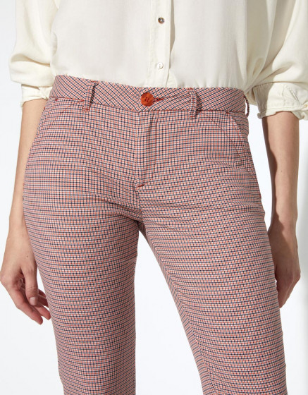 Pantalon chino Sandy Fancy - ORANGE HOUNDSTOOTH
