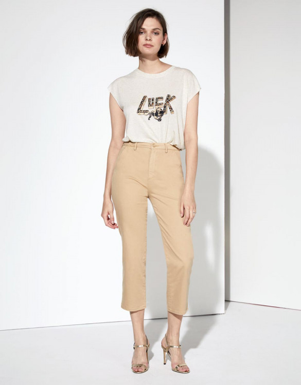Pantalon chino Sandy Highwaist Cropped - BEIGE