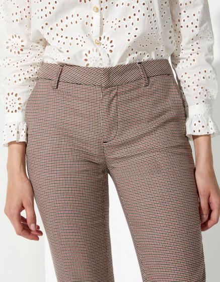 Pantalon cigarette Liv Fancy - RED HOUNDSTOOTH