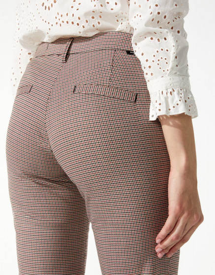 Cigarette trousers Liv Fancy - RED HOUNDSTOOTH