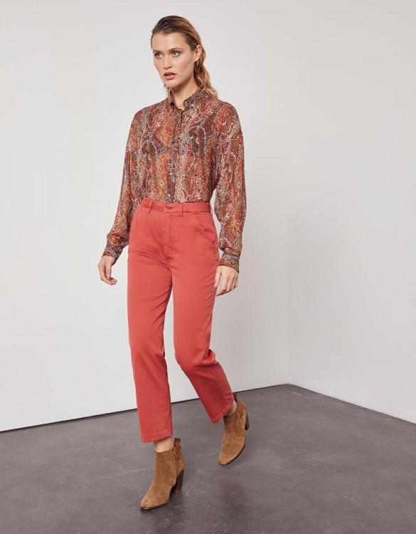Chino high waist cropped trousers Sandy High Waist - MARSALA