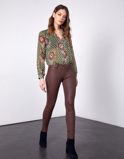 Skinny trousers Nelly Enduction - BRIQUE