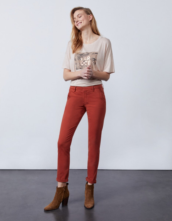 Chino trousers Sandy 2 Basic - RED OCHRE