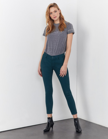 Pantalon chino Sandy cropped - DEEP FOREST