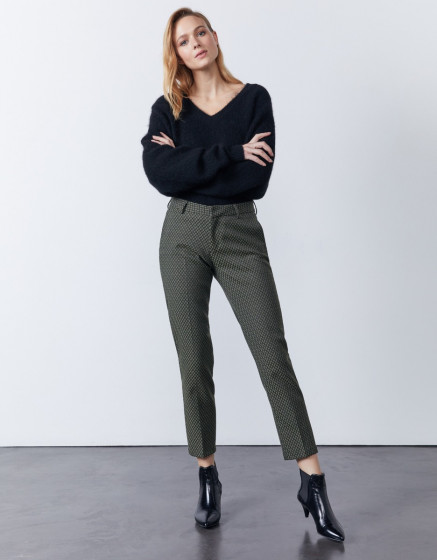 Cigarette trousers Liv Fancy - KAKI DIAMOND