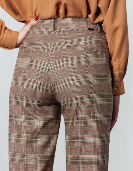 Cigarette straight cropped trousers Lary Fancy - CAMEL CHECKS