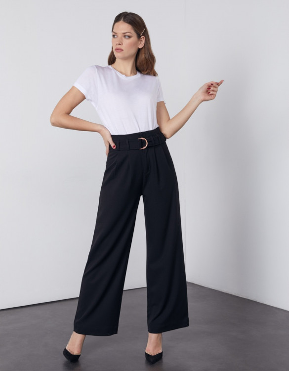 Pantalon wide Gaby Color - BLACK