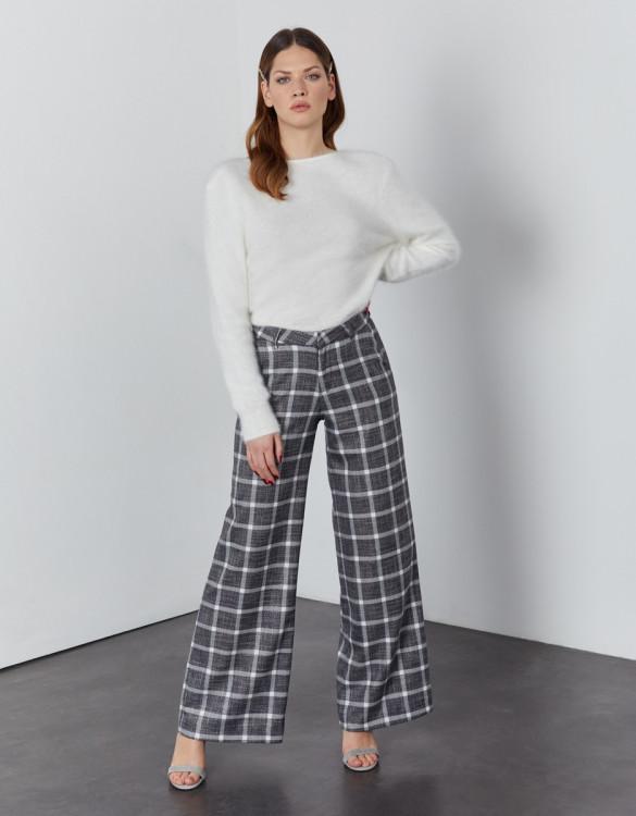 Wide trousers Pamelo Fancy - SILVER CHECKS