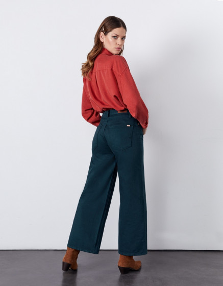 Jean wide Poppy Color - DEEP FOREST