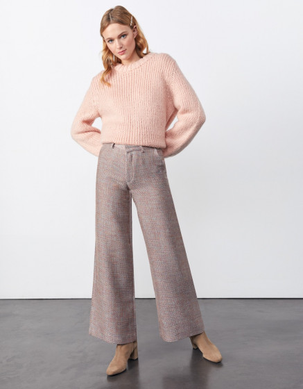 Wide trousers Pamelo Fancy - PINK TWEEDY