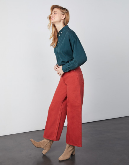 Jean wide Poppy Color - MARSALA