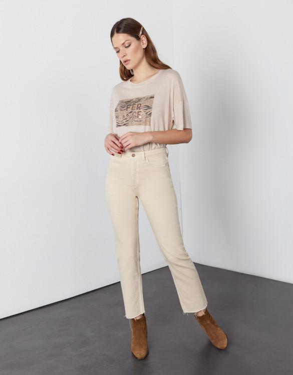 Jean taille haute cropped Milo Color - DESERT SAND