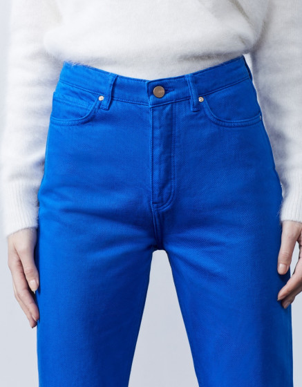 Jean taille haute cropped Milo Color - COBALT BLUE