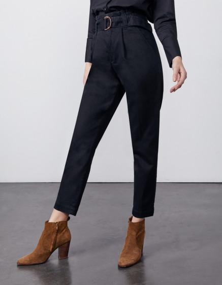 High waist cigarette cropped trousers Ava - DNM BLACK
