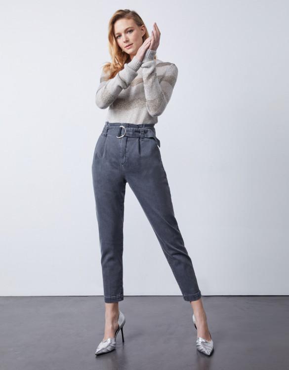 Pantalon cigarette taille haute cropped Ava - DNM GREY