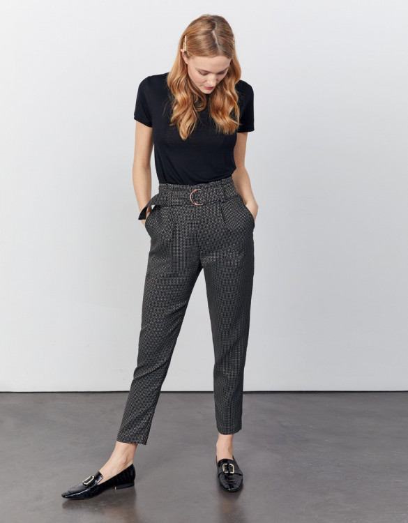 Pantalon cigarette taille haute cropped Ava Fancy - BLACK DIAMOND