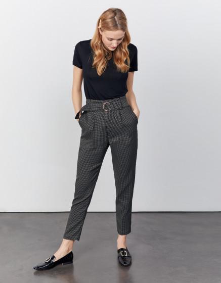 High waist cigarette cropped trousers Ava Fancy - BLACK DIAMOND