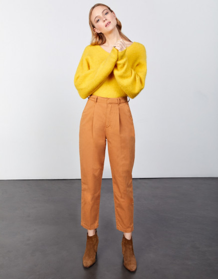 Chino high waist cropped Ambre - SAND STORM