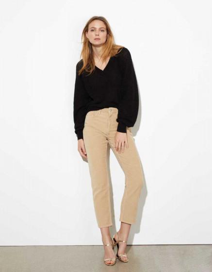 Pantalon high waist Milo Velvet - BEIGE
