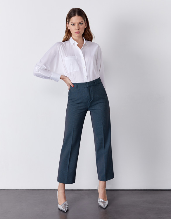 Pantalon cigarette straight cropped Lary Fancy - INDIGO DOTS