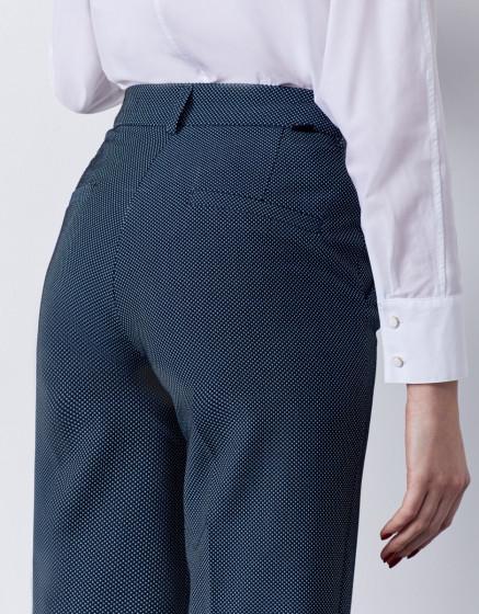 Pantalon cigarette straight cropped Lary Fancy - INDIGO DOTS
