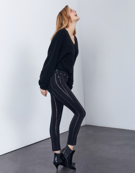 Skinny cropped trousers Lily Stripes - DNM BLACK