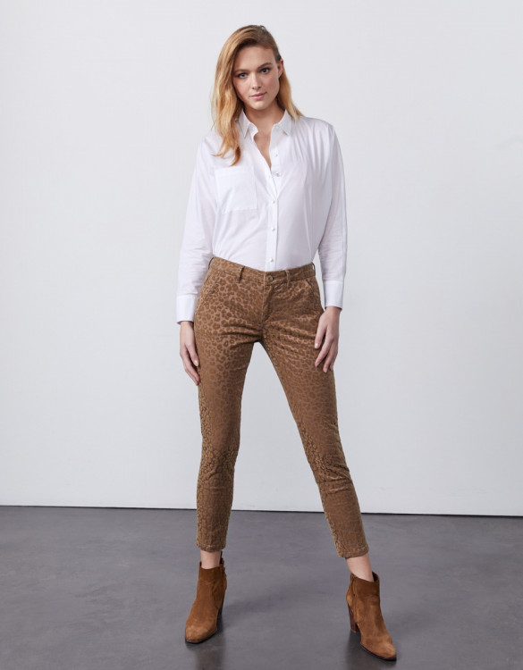 Chino trousers Sandy Cropped Print - TAUPE LEOPARD