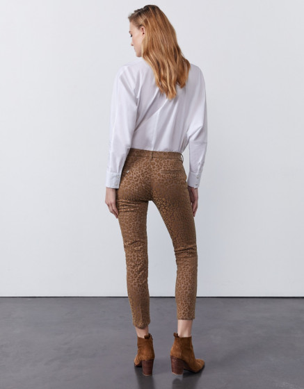Pantalon chino Sandy Cropped Printed - TAUPE LEOPARD
