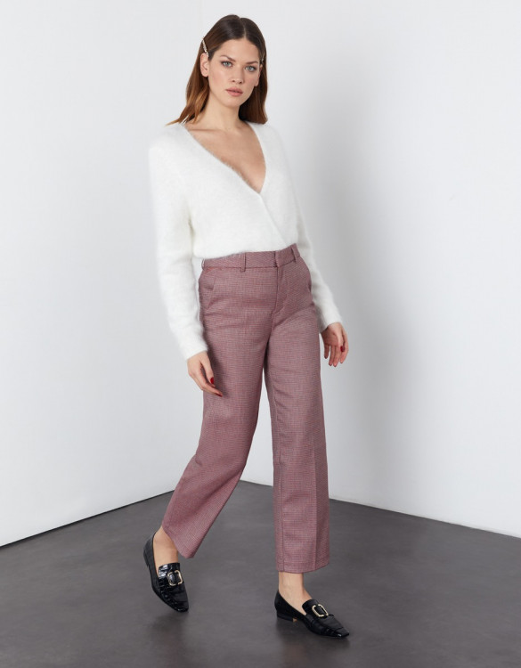 Pantalon cigarette straight cropped Lary Fancy - BURGUNDY TWIST