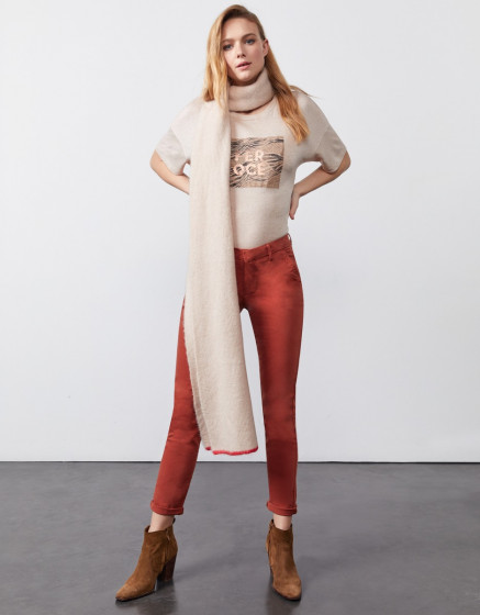Scarf Misty - SAND STORM/POPPY RED