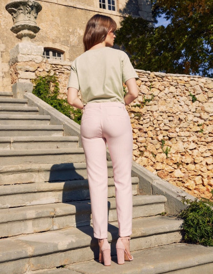 Pantalon cigarette Liv fancy - BABY PINK TILES