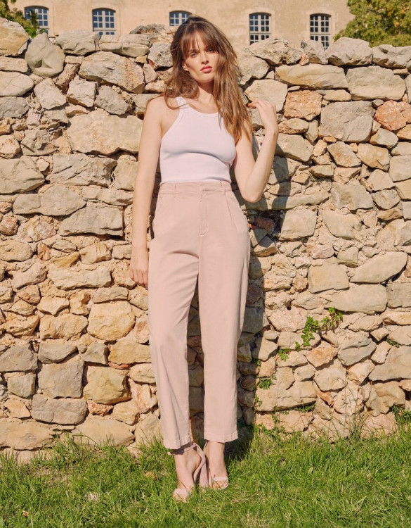 Chino high waist Ambre - ROSE SMOKE