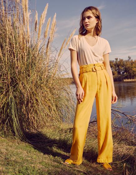 Pantalon wide Gaby Linen - MIMOSA