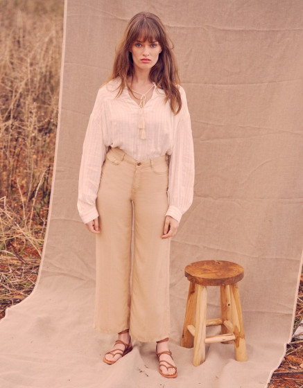 Wide trousers Ellie Linen - LIGHT SAND