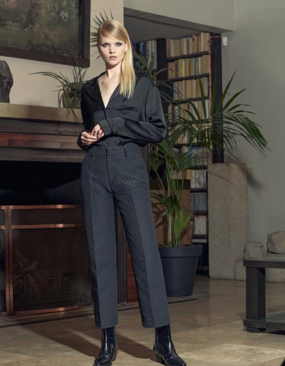 Cigarette trousers high waist Lauris fancy - MIDNIGHT DOTS