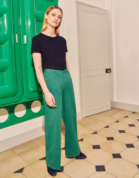 Wide trousers Pilly - EVERGREEN