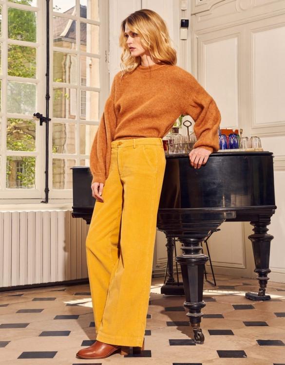 Wide trousers Pilly Velvet - HARVEST GOLD