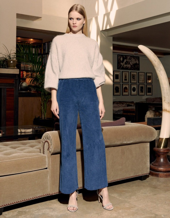 Wide trousers Felicity Velvet - DARK NAVY