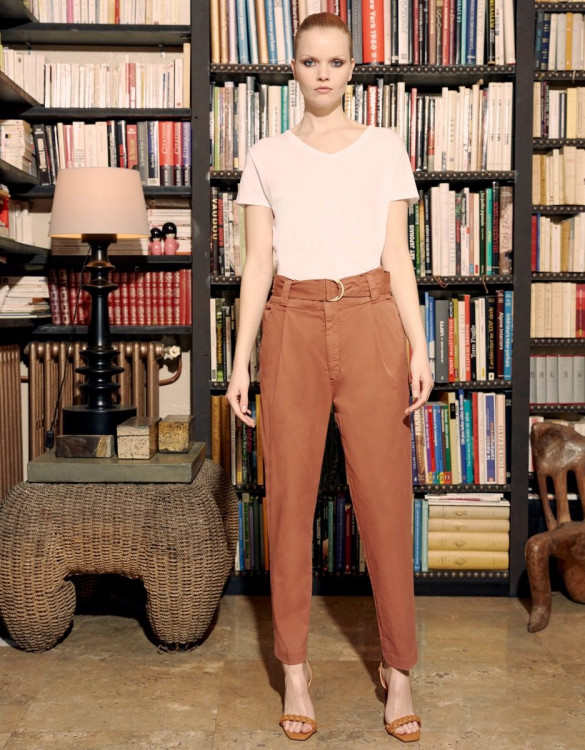 High waist cigarette trousers Ava Color - FIRED BRICK